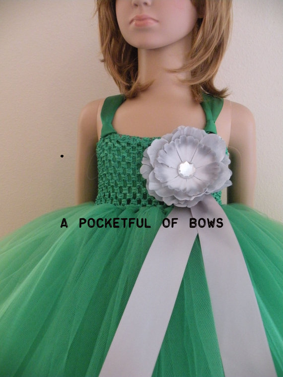 Kelly green and silver flower girl dress ball gown mightylinksfo