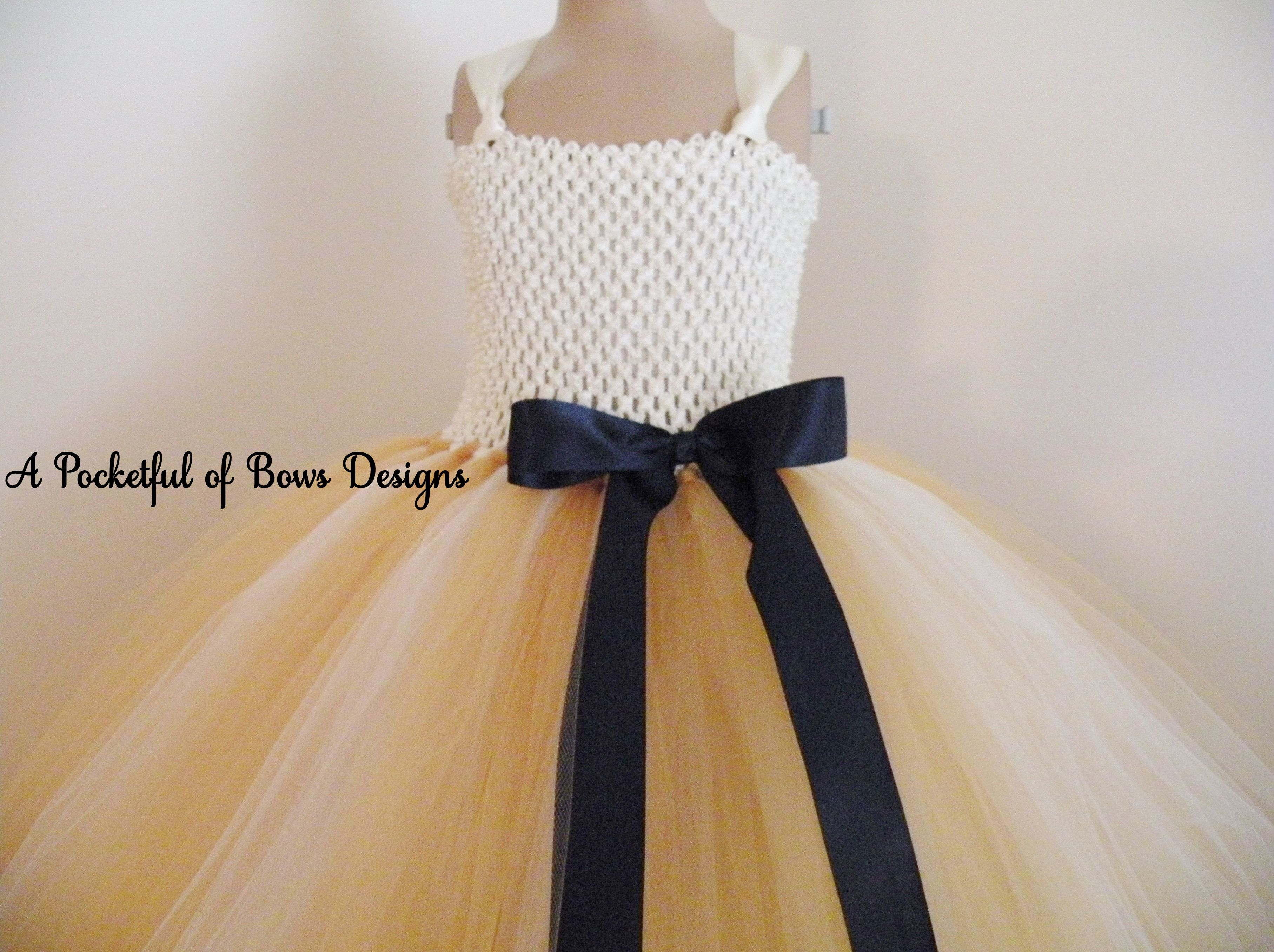 Gold Ivory And Navy Flower Girl Dress Ball Gown