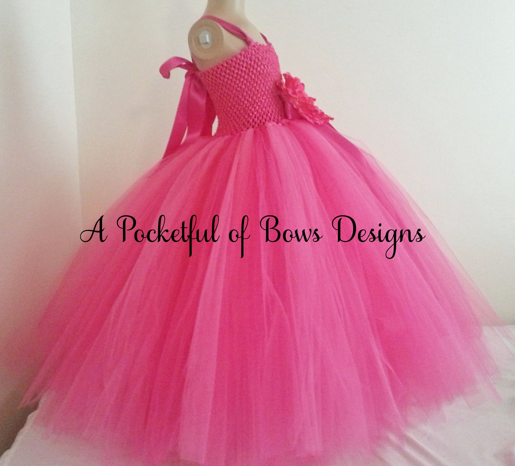 Bright pink flower girl tutu dress ball gown style tulle skirt mightylinksfo