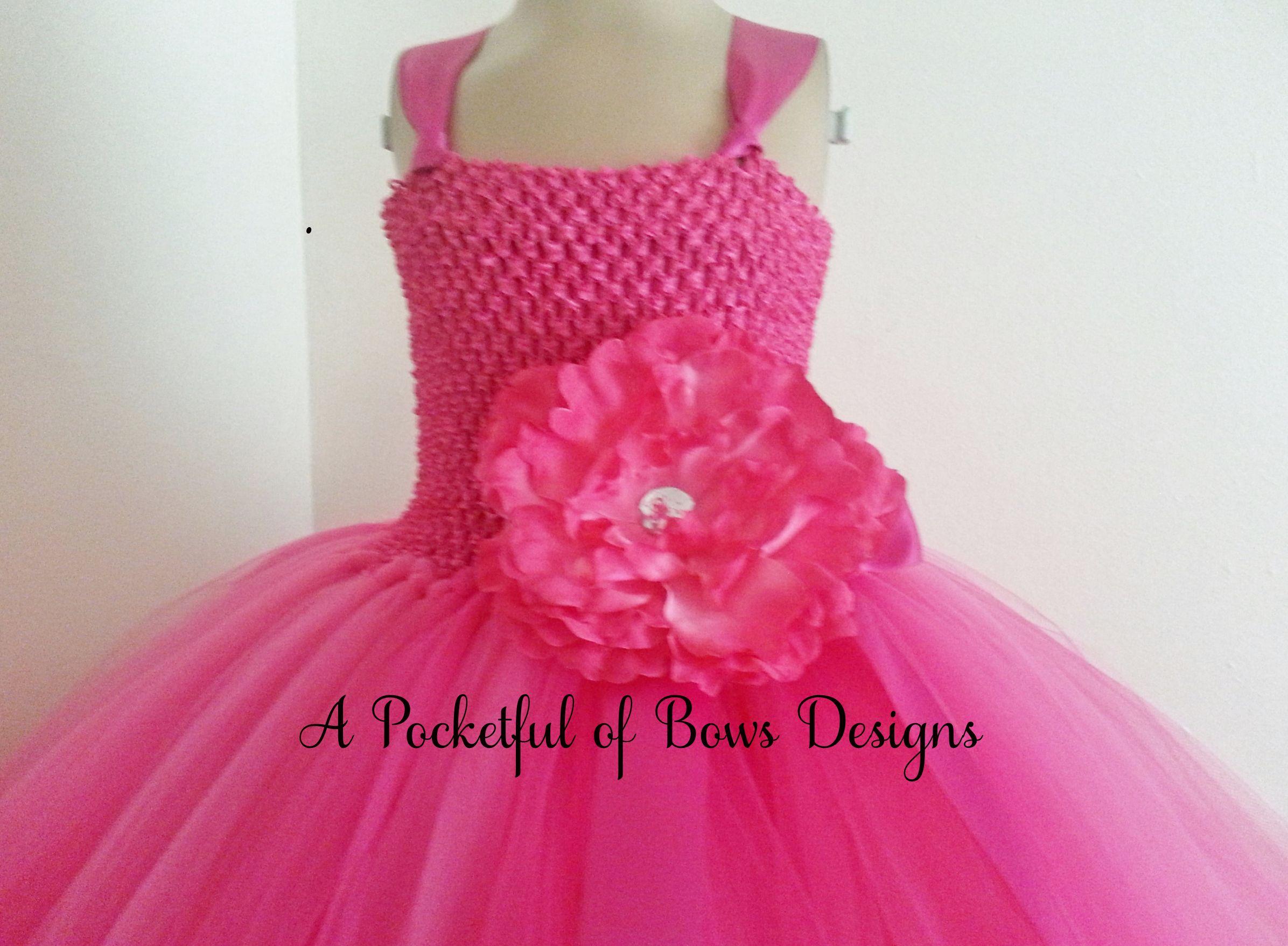 Bright Pink Flower Girl Tutu Dress Ball Gown Style Tulle Skirt