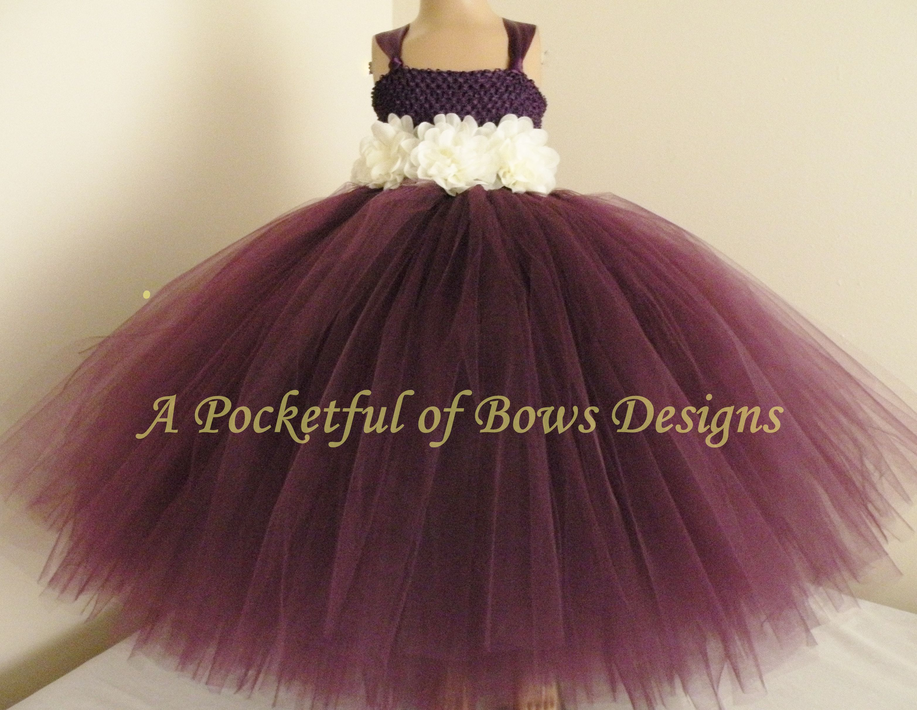 5d07f55ab589 Plum Flower Girl Dress with Ivory Flowers
