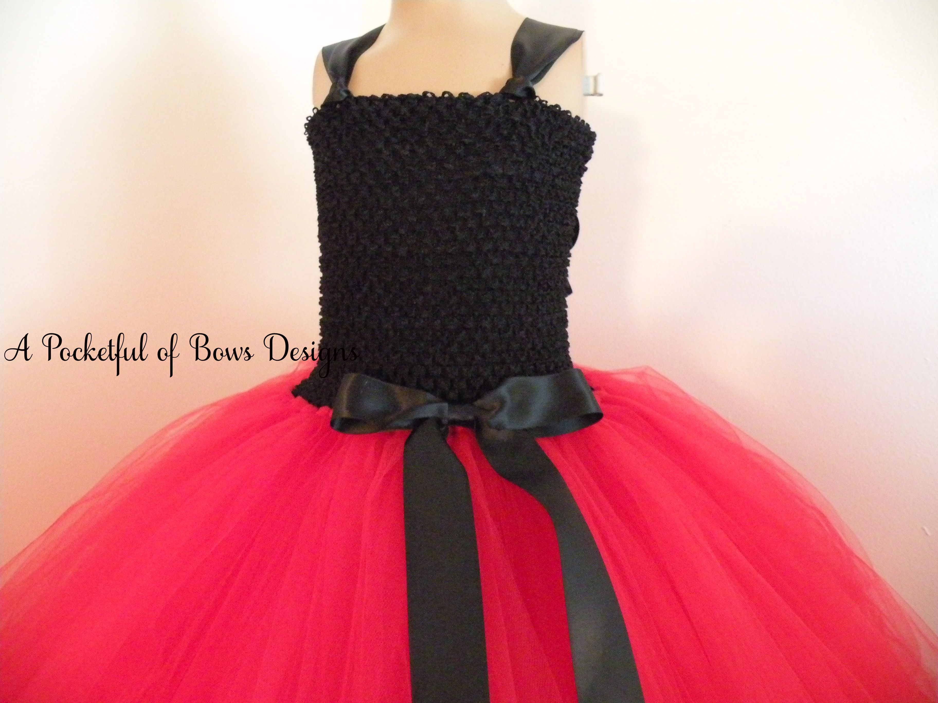 Red and Black Flower Girl Dress Ball Gown