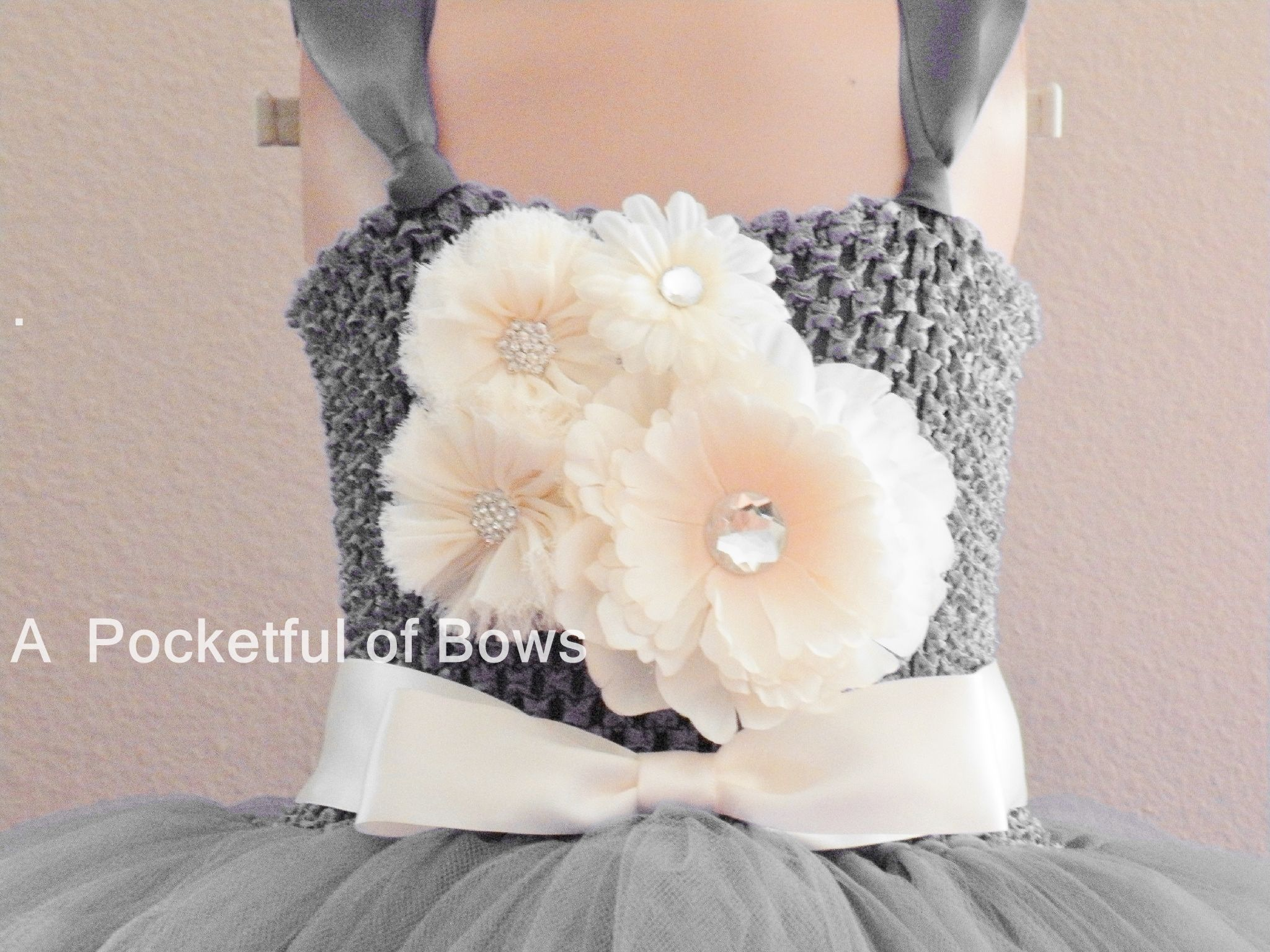 b5e06344cb4 Silver Flower Girl Tulle Dress with Ivory Flowers