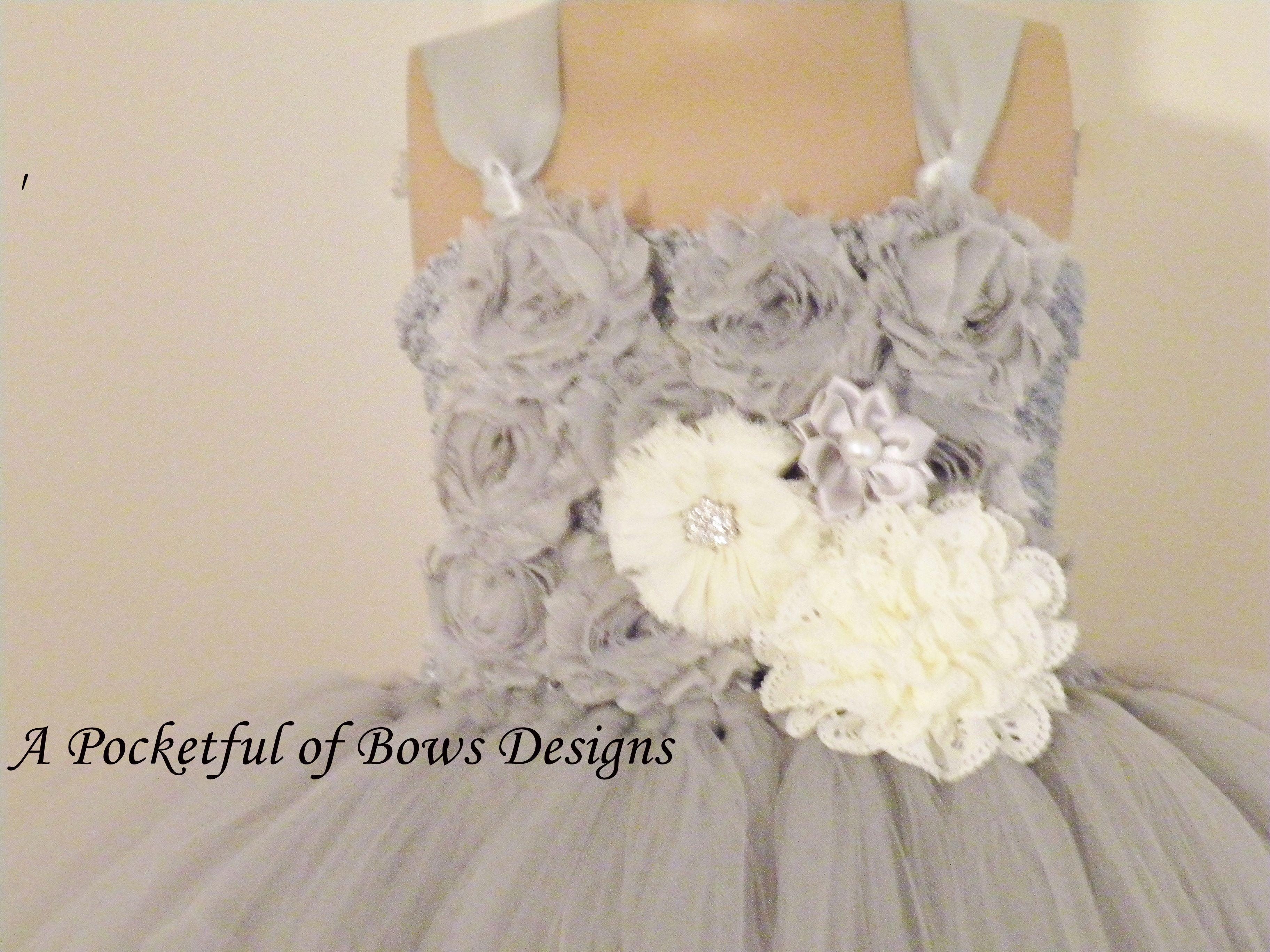 Silver gray and ivory flower girl dress with flower bodice mightylinksfo