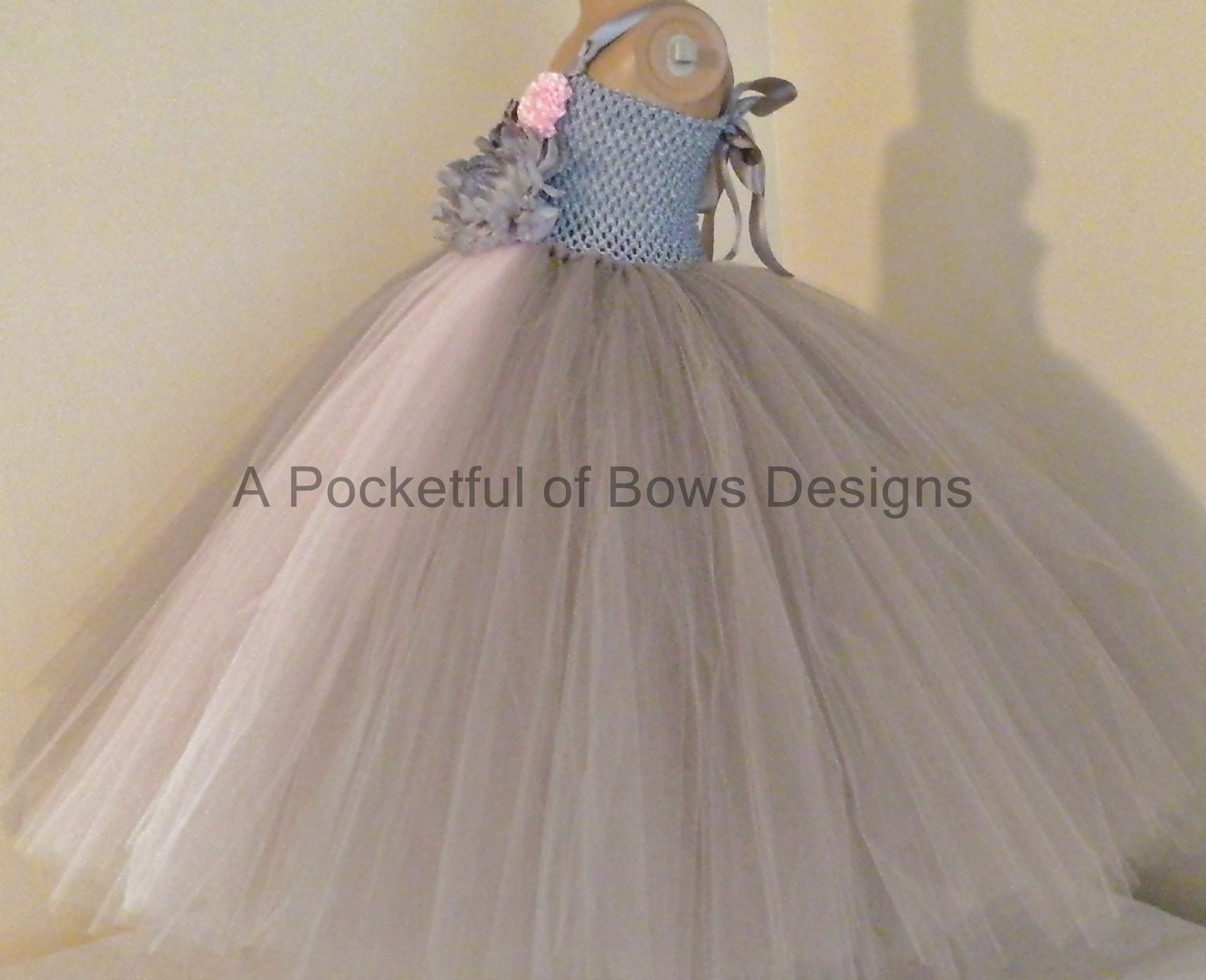 33c466e2f06 Silver Gray and Pink Flower Girl Tutu Dress Ball Gown
