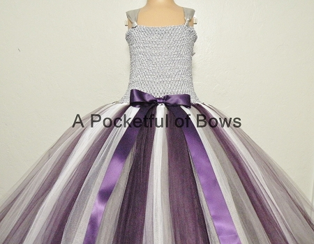 Silver And Eggplant Flower Girl Ball Gown Dress
