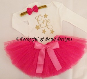 Hot Pink Birthday Tutu Outfit Toddler and Girls