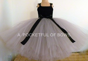Silver Flower Girl Dress with Black Bow Ball Gown Style