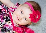 Bright Pink Headband, Flower Headband with Pearl Center