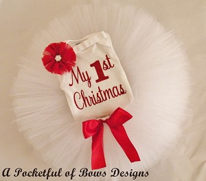 Baby Girl 1st Christmas Outfit, Includes Tutu, Body Suit, and Headband