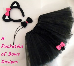 Black Cat Tutu Halloween Costume with Ears and Tail