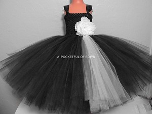 Black and Ivory Flower Girl Ball Gown for Toddler