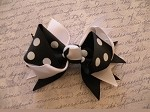 Hair Bow Clip in Black Polka Dot and White
