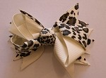 Hair Bow Clip in Ivory and Cheetah Print