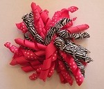 Korker Hair Bow Clip in Hot Pink and Zebra Print