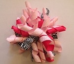 Korker Hair Bow Clip in Zebra and Light Pink
