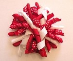 Korker Hair Bow in Red, White, and Red Polka Dot