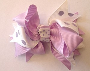 Hair Bow Clip In Lavender and White Polka Dot