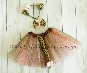 Cheetah Cat Tutu Costume, Girls Halloween Costume with Ears and Tail