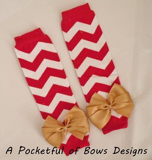 Chevron Leg Warmers your Choice Bow Color