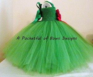 Christmas Couture Tutu Dress, Christmas Flower Girl Dress