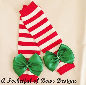 Red and White Stripped Baby Leg Warmers
