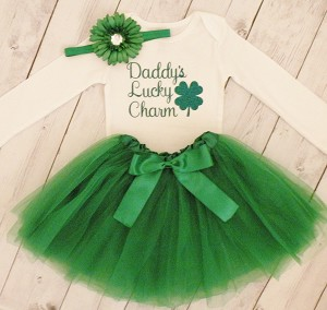 Daddy's Lucky Charm Tutu Outfit. Toddler Girls St Patrick;s Outfit