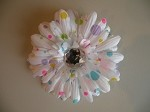 Flower Clip Rainbow Polka Dots