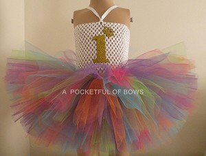 Rainbow Birthday Tutu Dress with Age, 1,2,3,4,5