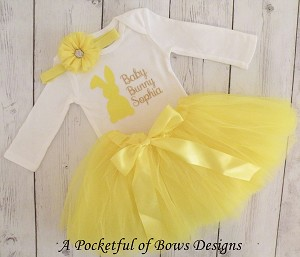 Baby Bunny Easter Tutu Outfit in yellow, pink, or blue