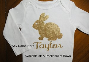 Bunny Baby Body Suit or Toddler Tee Shirt with Name