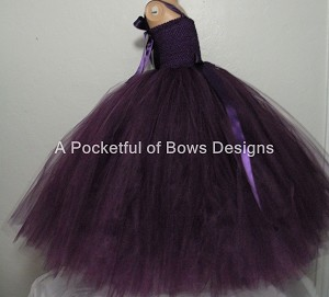Long Eggplant Tulle Dress, Plum Flower Girl Tutu Dress