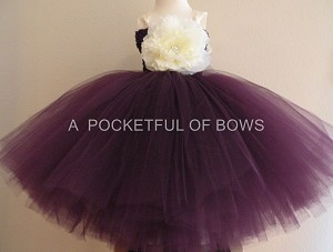 Eggplant Plum Flower Girl Dress with Ivory Flower