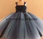 Light and Dark Navy Tulle Dress, Navy Flower Girl Tutu Dress