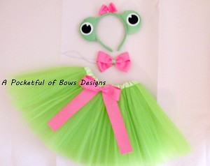 Frog Tutu Costume with Matching Frog Eyes Headband