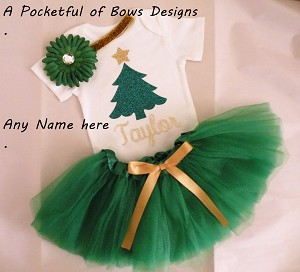 Christmas Tutu Outfit, 3 Piece Outfit Top Headband and Tutu