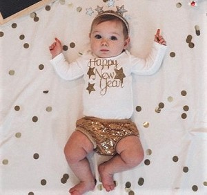 Happy New Years's Baby Body Suit or Toddler Tee Shirt
