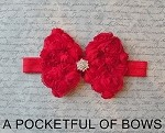 Red Shabby Bow Headband