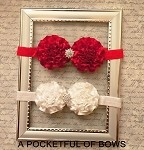 Baby Headband Red or White with Sparkle Gem Center