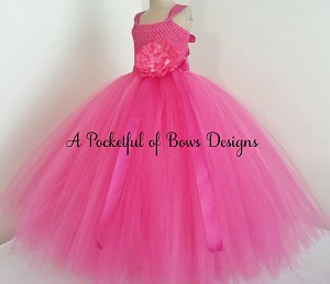 Bright Pink Flower Girl Tutu Dress Ball Gown Style Tulle Skirt
