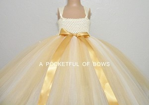 Ivory and Gold Flower Girl Tulle Dress