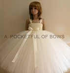 Ivory Flower Girl Tulle Dress with Satin Bow