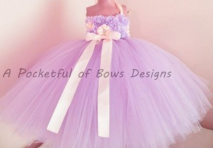 Lavender and Ivory Flower Girl Tutu Dress Ball Gown
