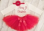 Christmas Tutu Outfit Body Suit Headband Leg Warmers