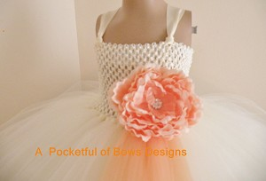 Ivory and Peach Flower Girl Tulle Ball Gown
