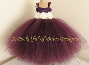 Plum Flower Girl Dress with Ivory Flowers