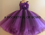 Purple and Plum Flower Girl Tutu Dress, Ball Gown