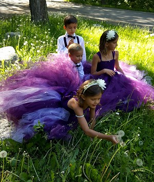Eggplant Plum Flower Girl Dress with Lavender Ball Gown