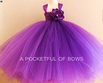 Purple Flower Girl Tutu Dress, Long Tulle Dress