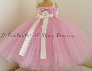 Mauve Flower Girl Dress with Flower Bodice
